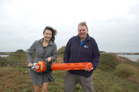 Holiday Extras donate hedge trimmer to RSPB Dungeness Nature reserve