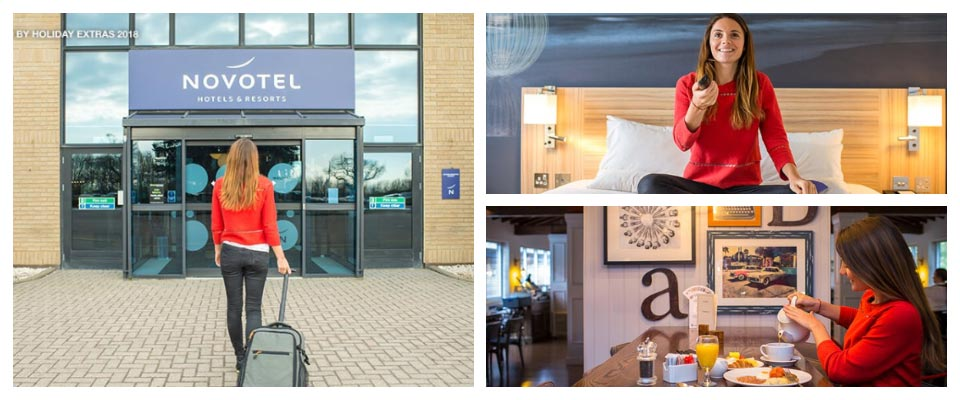 novotel stansted airport exterior, bedroom and breakfast