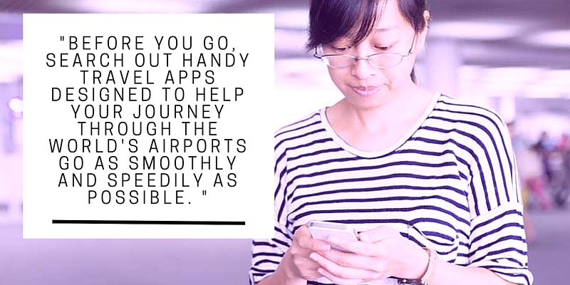 woman using smartphone in the airport