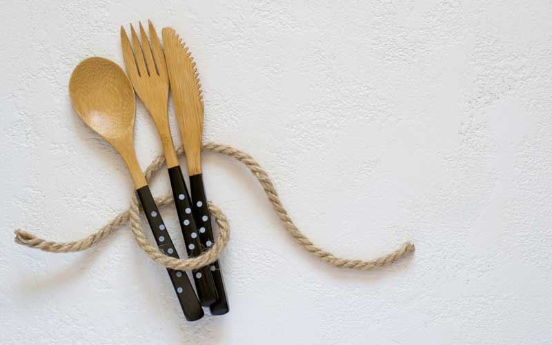 Bamboo cutlery is reusable and biodegradable