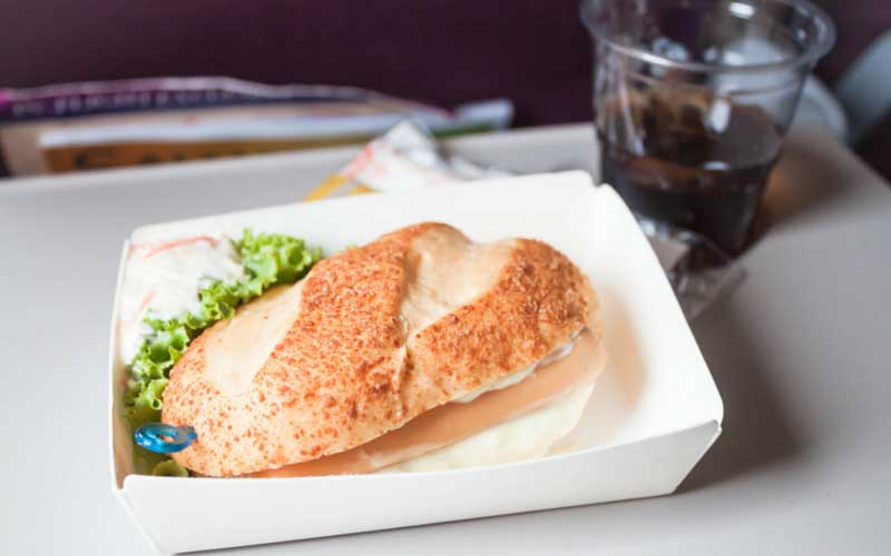 Airline meal sandwich