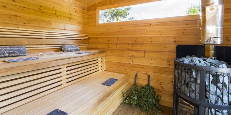 Home sauna in Finland.
