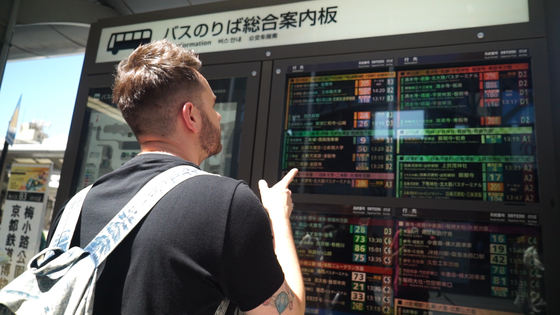 Dan checking the bus timetable in Kyoto