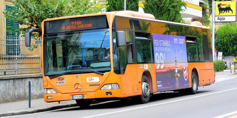 Orange bus in Pisa