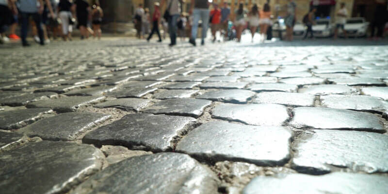 Rome cobbled street