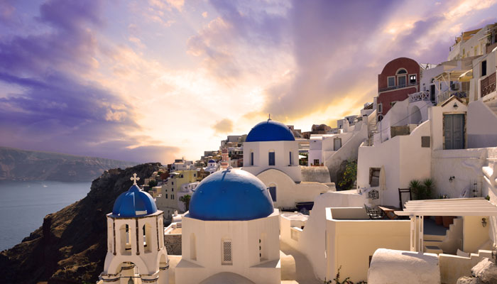 Church and sunset in Santorini.