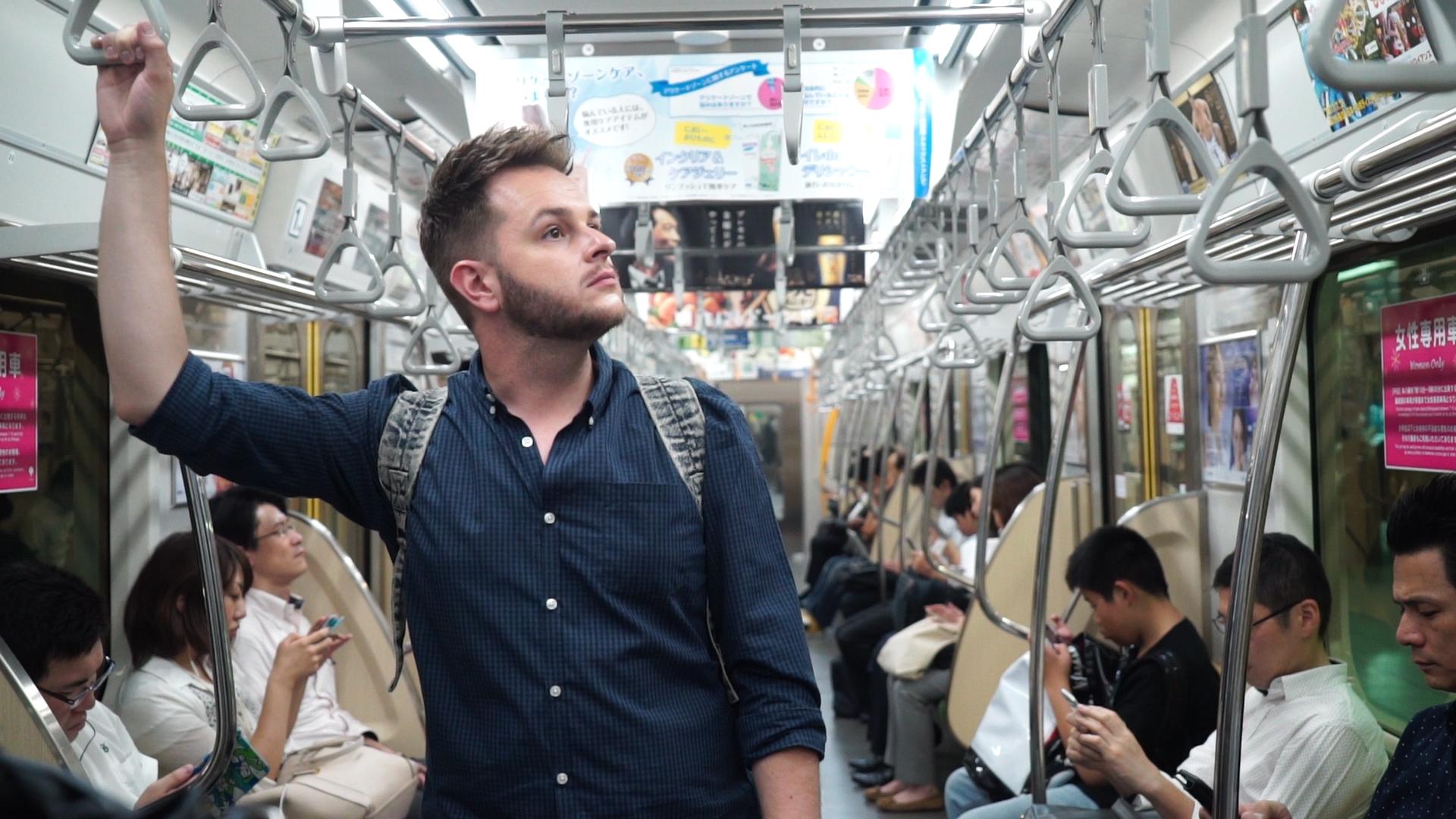 Dan on the Metro in Tokyo