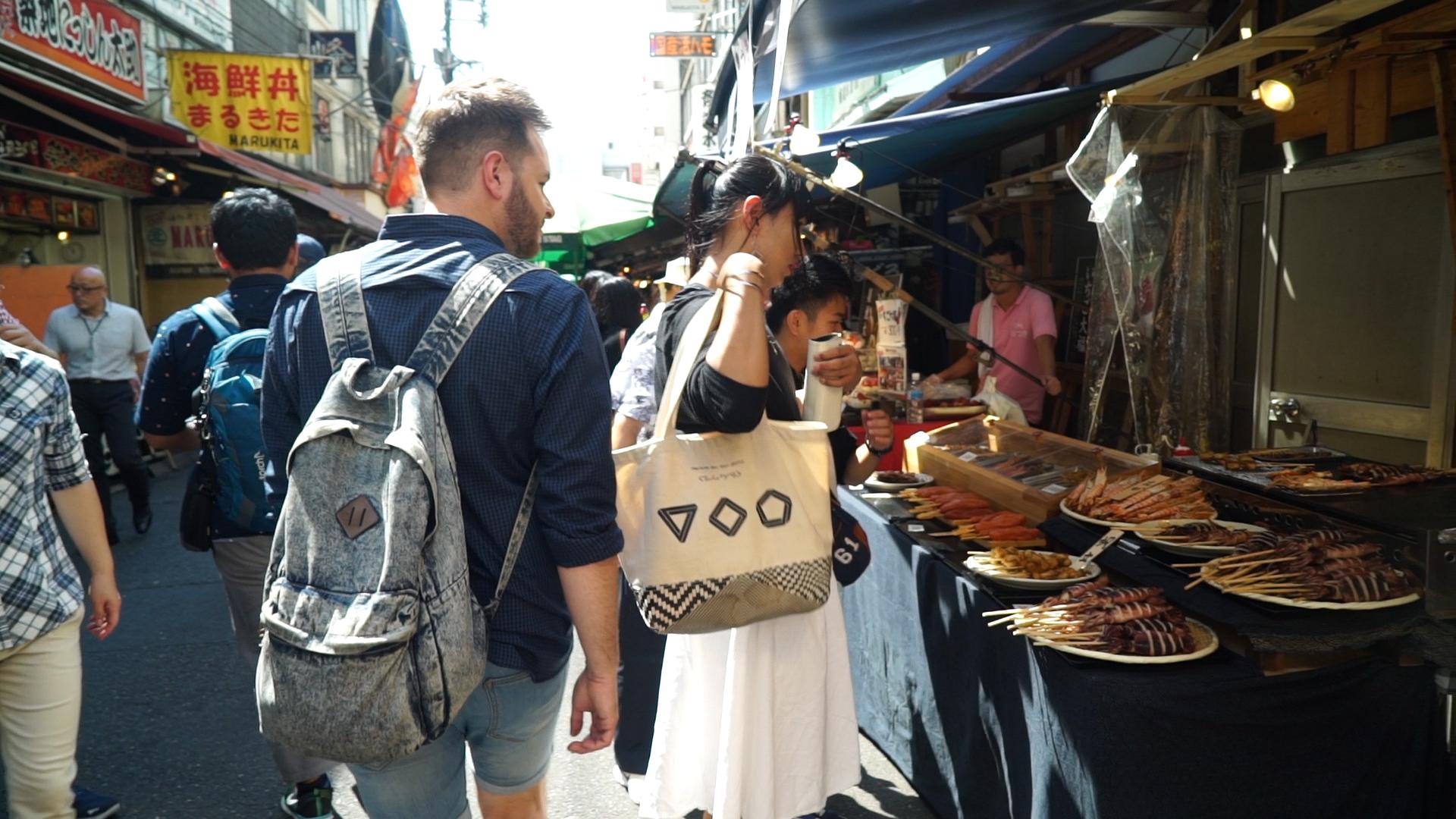 Dan exploring Tsukiji fish market, Tokyo