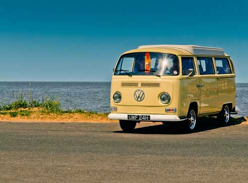 Cool car hire, yellow vw bay camper