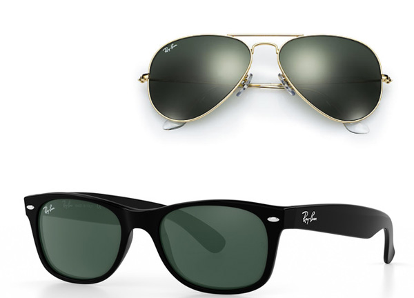 Two pairs of RayBan sunglasses