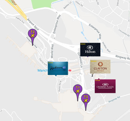 Manchester Airport Hotels Connected to the Terminal Map