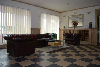 The lobby at the Sky Plaza hotel Cardiff airport
