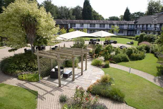 The peaceful courtyard gardens at the Gatwick Felbridge
