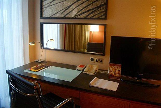 A fully-equipped workspace in a room at the Gatwick Hilton