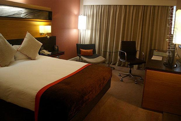 A luxurious room at the Gatwick Hilton