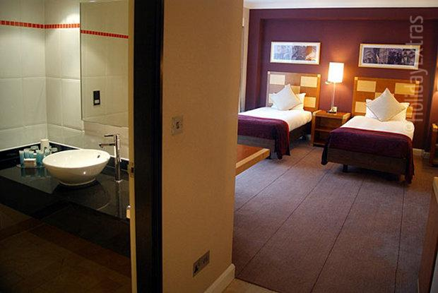 A spacious family room at the Gatwick Hilton