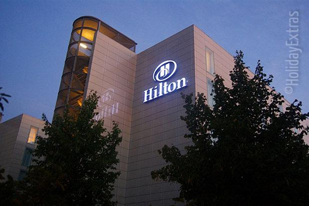 A view of the Gatwick Hilton by night