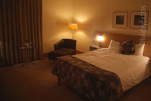 An example of a stylish executive room at the Gatwick Hilton