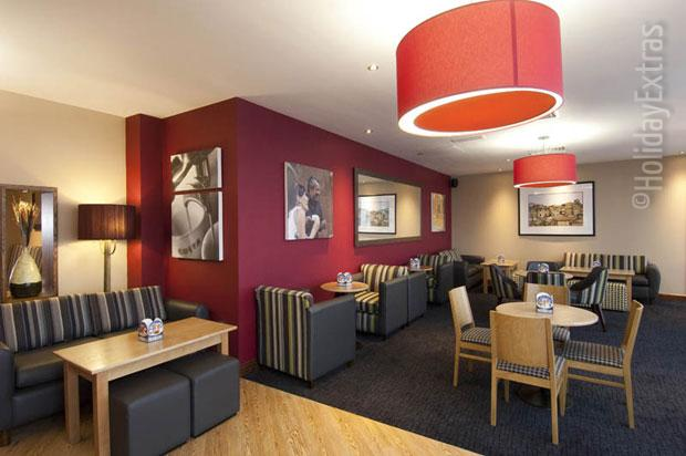 Seating in the bar at the Premier Inn London Gatwick airport