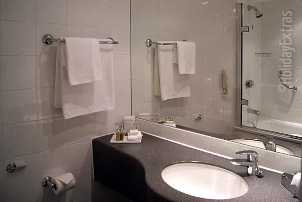One of the en suite bathrooms at the Gatwick Sofitel.jpg