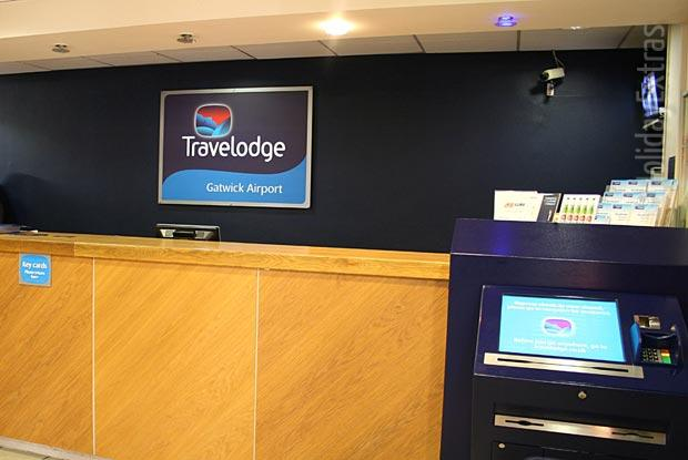 The reception at the Travelodge Gatwick