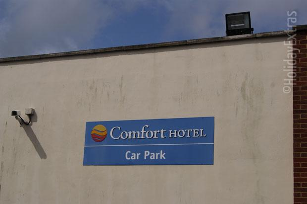 The car park at the Comfort Hotel