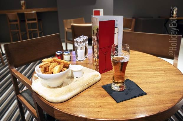 Chips and a pint at the Heathrow Crowne Plaza