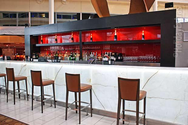 Enjoy a drink at the bar at the Heathrow Hilton T4