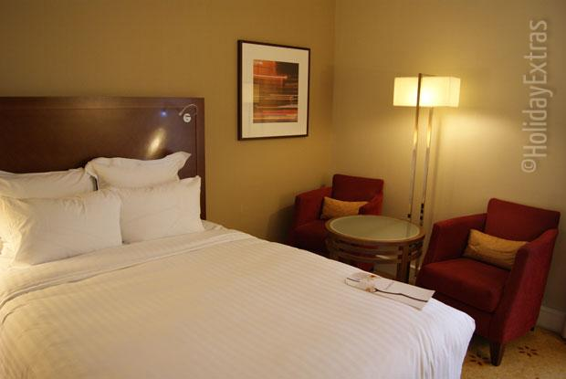 A double room at the Marriott Heathrow