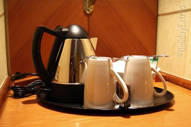 Tea and coffee making facilities in a room at the Marriott Windsor