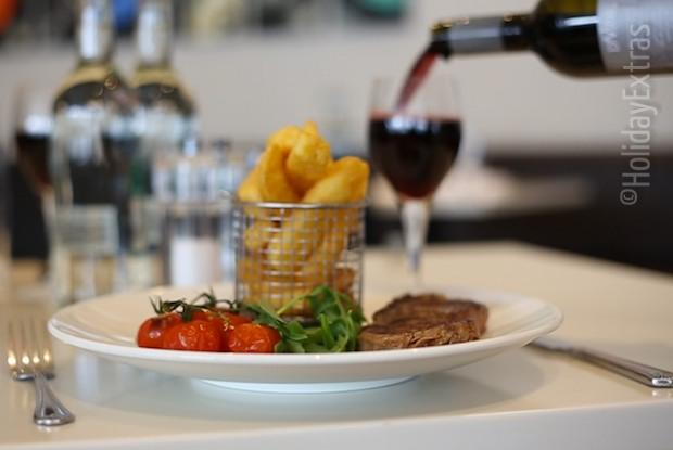 Steak and chips at the Crowne Plaza