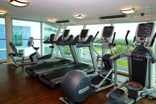 The gym at the Doubletree by Hilton