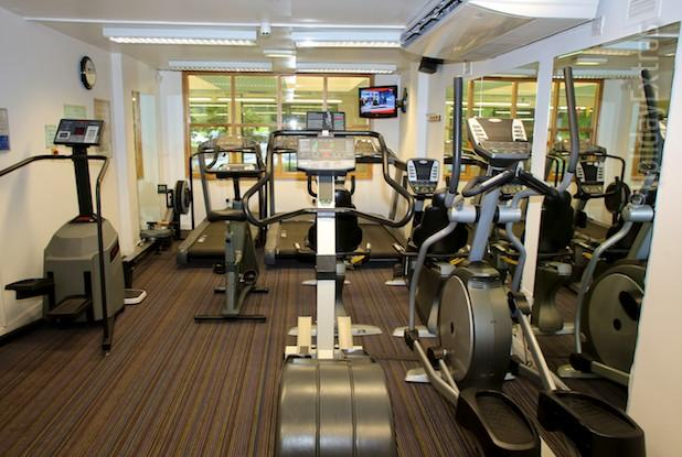 The gym at the Holiday Inn