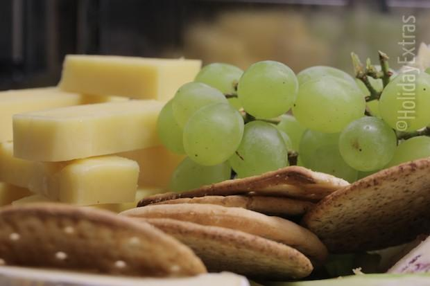 Cheese and grapes at Hilton Stansted Airport