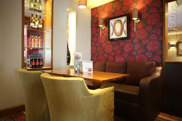 Seating in the bar at the Premier Inn