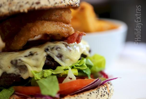 A fully loaded burger at the Radisson Blu