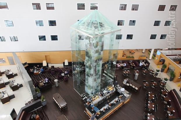 The wine tower at the Radisson Blu