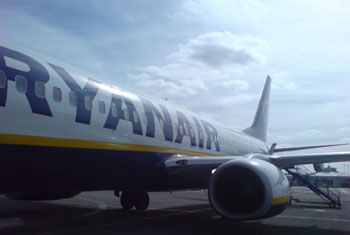 Ryanair plane at Leeds Bradford airport. Used under creative commons license from Simon Grubb