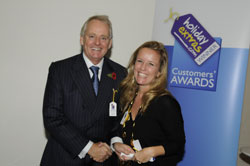 Sally Hetherington accepts the runner up award for best airline for value for money on behalf of Jet2