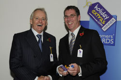 Mike Whiting accepts the runner up award for best airport on behalf of East Midlands Airport