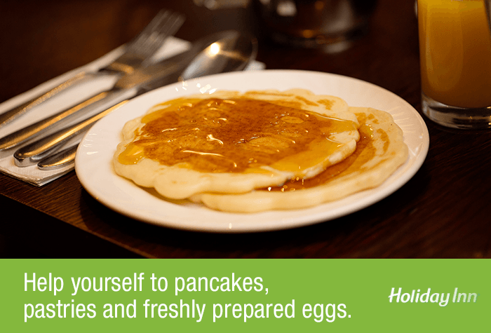 Pancakes at the Glasgow Airport Holiday Inn