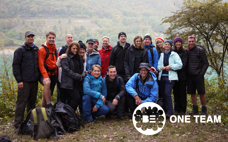 Matthew Pack with leadership team in Verona. Pic taken after an 8 hour hike through the rain. Be one team. From left to right. Simon Hagger, Sean Hagger, Howard Dove, Mel Davis, Cathy Beare, Johannes Mehrer, Anthony Clarke-Cowell, Matthew Pack, Chris Gale, Andy Britcliffe, Andrew Parker, Michelle Clarke-Cowell, David Norris, Ian Copely, Carolyne Creed, Anna Divers, Leigh Wood, Matthew Paxton
