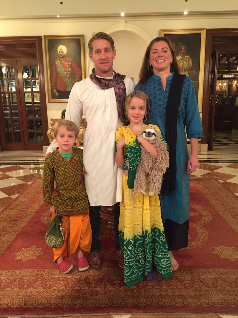 Matthew Pack with wife Amanda and children Emily and Thomas on holiday in India 2016, photo taken at the Imperial Hotel Delhi